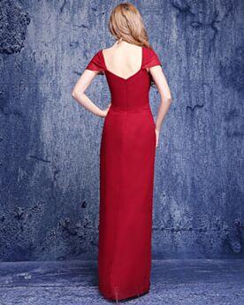 Rouge Élégant Longue Robe Invite De Mariage Volantée Empire Mousseline 2019 Dos Nu Simple