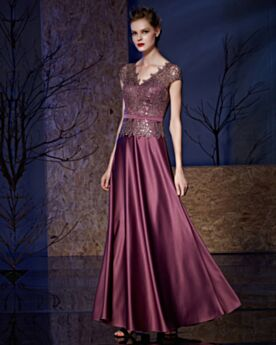 Wedding Guest Dress Lace Long Elegant Empire Evening Dress 2019 Satin Orchid