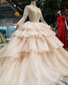 Principessa Glitter Schiena Scoperta Con Tulle Abiti Da Sposa Champagne In Pizzo Con Balze