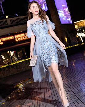 Sheath Short Cocktail Dresses Cute Light Blue Sequin Graduation Dresses 2019 Sparkly