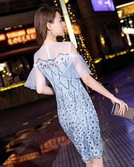Sheath Short Cocktail Dresses Cute Light Blue Sequin Graduation Dresses 2019 Sparkly