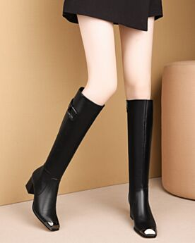 Knee High Boots Black Leather Classic Block Heel Fur Lined 6 cm Mid Heel Patent