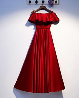 Elegante Off Shoulder Simpele A Lijn Avondjurken Lange Rode Met Volant Bruidsmoederjurken