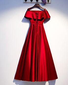 Schlichte Festliche Kleider Lange Brautmutterkleid Rüschen Elegante Rot Abendkleid Off Shoulder