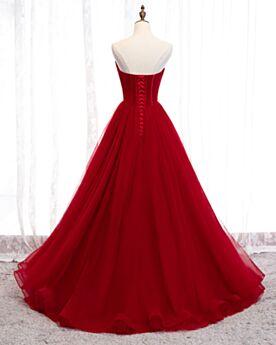 Robe Quinceanera Vintage Boule Bustier Sequin Robe De Bal Rouge