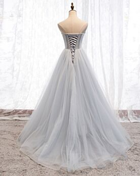 Long Quinceanera Dresses 2020 Vintage Gray Sequin Prom Dress