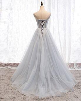Pailletten Hellgrau Vintage Prinzessin Rückenausschnitt Perlen Bandeau Ballkleid Tüll