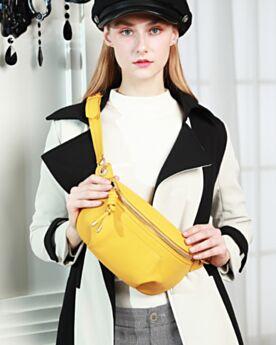 Bonitos Riñonera Bolso De Mano Mujer Negro Cadenas Crossbody Bag Modernos De Cuero