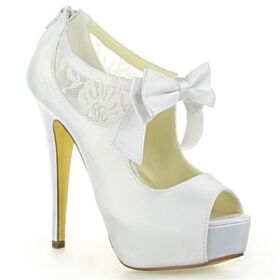 Platform Elegant 5 inch High Heel Bridals Wedding Shoes Pumps Open Toe Lace