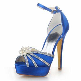 Sandaletten Stilettos Schönes Mit Perle Plateau Mit 13 cm High Heel Perlen Königsblau Brautschuhe Mit Strasssteine Peeptoes