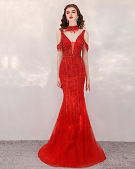 Long Beaded Tulle Open Back Prom Dress Cold Shoulder Plunge Sparkly Sequin Red Luxury Formal Evening Dresses