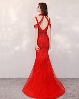 Scintillante Sirène Licou Robe De Soirée Longue Avec La Queue Robe De Bal Rouge Sequin Epaule Nu Perlage Sans Manches