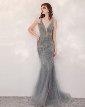 Mermaid Long Sequin High Neck Gorgeous Low Cut Sparkly Gray Open Back Prom Dresses Evening Dresses Sweet 16 Dress