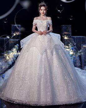 Satin Largos De Lujo Purpurina Espalda Descubierta Peplum Volantes Con Cola Elegantes Princesa Hombros Caidos De Encaje Vestidos De Novia