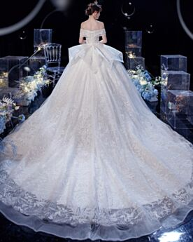 Glitter Wedding Dress With Train Luxury Off The Shoulder Long Ball Gowns Lace