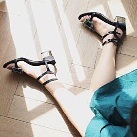 5 cm Sandalen Schwarz Kitten Heel Sommer Knöchelriemen Chunky Heel