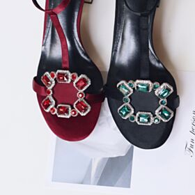 Zwart Zomer 5 cm Leren Kitten Heels Enkelband Blokhakken Sandalen Strappy