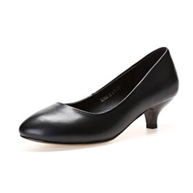 Low Heel Pumps Black Leather Red Soles Classic Office Shoes Pointed Toe