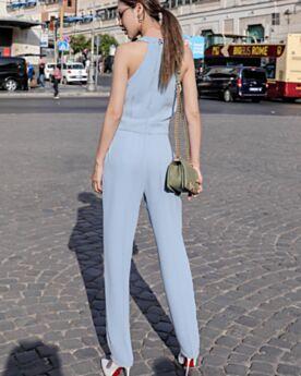 D été Portefeuille Bleu Ciel Mousseline Combinaison Pantalon Décolleté Casual Cigarette Robe Bohème