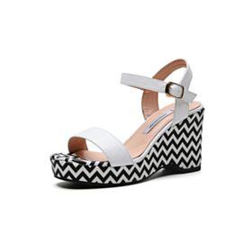 6 cm Talon Mid Plateforme Compensées Confort Blanche 2019 Sandale Chaussure