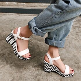 White Wedges Fashion Sandals Comfort Leather Platform