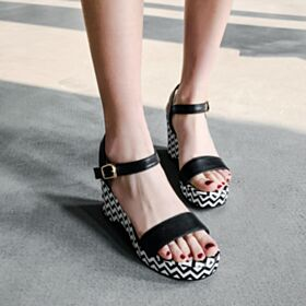 Fashion Printed 6 cm Heel Platform Comfortable Leather Wedges Black Sandals For Women