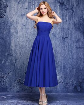 Fit And Flare Bridesmaid Dresses Juniors Wedding Guest Dress Tea Length Simple Sleeveless Chiffon Strapless Royal Blue