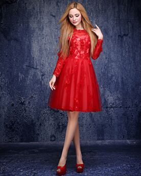 Semi Formal Dresses Cute Juniors Cocktail Dress Sweet 16 Dress Lace Red Long Sleeves