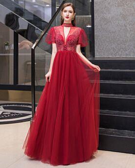 Abendkleid Glockenärmel Ballkleider Rot Rückenfreies Kurzarm Empire Perlen Lange Hochgeschlossene Vintage Festliche Kleider