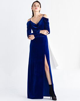 Long Sleeves Spaghetti Strap Modest Long Party Dress For Wedding Spring Velvet Empire Dark Blue Evening Dresses Open Back
