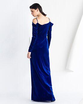 Open Rug Vintage Avondjurken Lange Mouw Fluwelen Nachtblauwe Simpele Modstrom Empire Jurken Bruiloft
