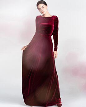 In Velluto Manica Lunga Schiena Scoperta Abiti Da Sera Lungo Impero Vintage Vestiti Da Cerimonia Bordeaux
