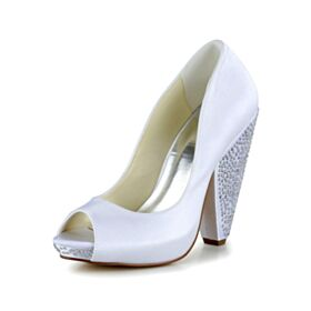 Tacco Largo Tacco Grosso Bianco Spuntate Scarpe Sposa Decolte Tacco Alto Raso Con Strass Eleganti