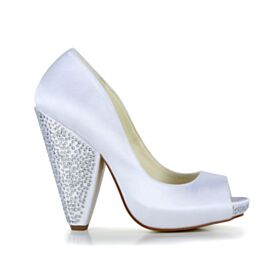 Elegant High Heel Satin Bridal Shoes Chunky Heel Pumps Shoes White Peep Toe Block Heel