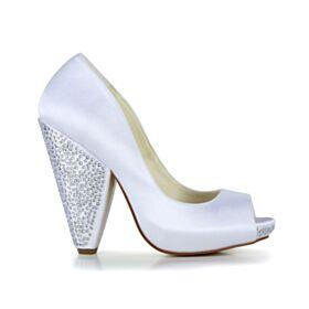 Tacon Alto Zapatos Novia Satin Blancos Zapatos Tacon Tacon Ancho Elegantes Peep Toe Strass