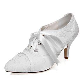 Spitz Zeh Satin Brautschuhe Weiß Spitzen Stilettos Elegante Pumps