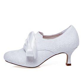 Chaussure Mariage Talon Mid Blanche Chaussure Demoiselle D honneur Bottes Satin Dentelle Noeud