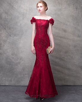 Mermaid Long Sheath Red Lace 2018 Off The Shoulder Appliques Backless Elegant Bridals Wedding Dress