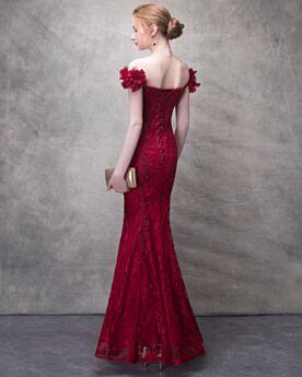 Schulterfreies Spitzen Etui Standesamt Rückenausschnitt Lange Sommer Brautkleid Meerjungfrau Elegante 3D Blumen
