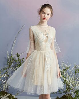 Occasion Gowns Bohemian Backless Summer Fit And Flare Bell Sleeved Cocktail Dress Graduation Dress Scoop Neck