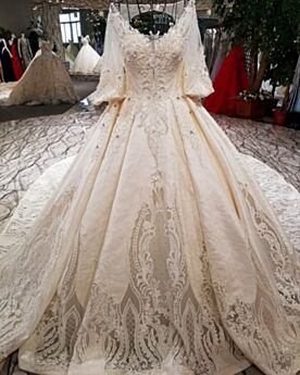Maternity Lace Long Bridal Gown Open Back Half Sleeve Embroidered Low Cut Gorgeous