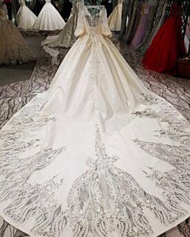 Perlen Creme Spitzen Rückenausschnitt Tiefer Ausschnitt Umstands Brautkleider Cut Out Satin Halbe Ärmel Herrlich Schönes Prinzessin