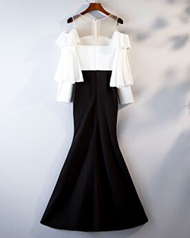 Robe De Ceremonie Robe Pour Mariage À Volants Sirène Élégant Satin Mousseline Mi Longue Noire et Blanc