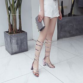 Shoes Gladiator Leather Mid High Heeled Sandals