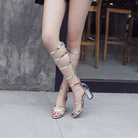 Block Heel Sexy Silver Stiletto Heels Gladiator Womens Sandals Patent 7 cm Heel Leather