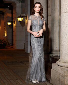 Avondjurken Laag Uitgesneden Glitter Elegante Bruidsmoederjurken Ronde Hals Koker Grijze Geborduurde Sparkle