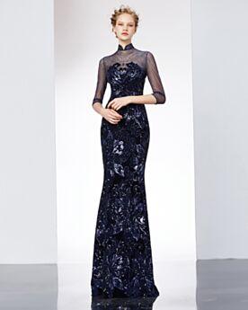 Eleganti Vestito Da Sera Paillettes Bordeaux Mezza Manica Abiti Da Cerimonia Lunghi Collo Alto Luccicante