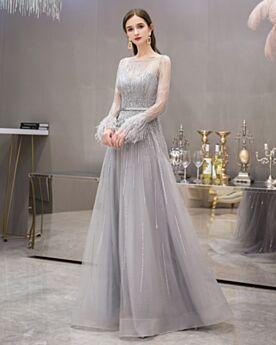 Lunghi Grigio Perla Con Perline Belle Abiti Da Cerimonia Vestiti 18 Anni Paillettes Con Strass Abiti Da Sera Con Piume