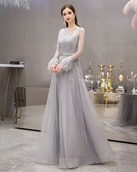 Robe Ceremonie Gris Perle Paillette Manche Longue Brillante Princesse Longue Transparente