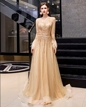 Sparkly Cute Tulle Rhinestones Sweet 16 Dress Sequin Gold Long Evening Dress Long Sleeve